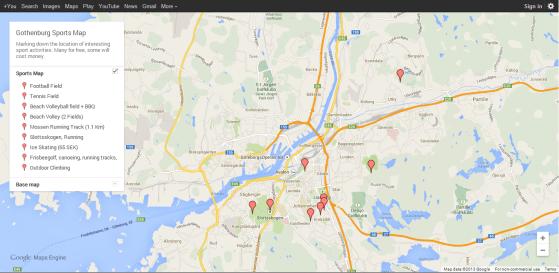 Gothenburg Sports Map (Google Maps)